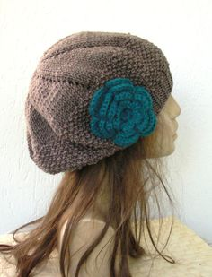 Hand Knit Hat - Womens hat- beret Taupe with teal flower- womens Slouchy  Beanie abc53e6efedc