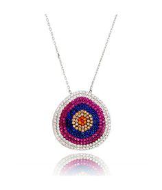 colar olho grego pink prata 925 turco