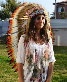 Check out M27-Medium Indian three colors  , Feather Headdress ( 36inch long) on theworldoffeathers