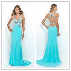 Straps Open Back Sheath Column With Beading Chiffon Prom Dresses