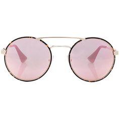 Prada Round Sunglasses (4.810 ARS) ❤ liked on Polyvore featuring accessories, eyewear, sunglasses, prada glasses, lens glasses, prada eyewear, round sunglasses and mirror lens sunglasses