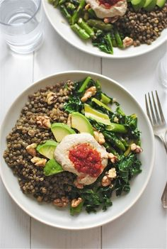 Lentils with garden vegetables, avocado, walnuts, & hummus.