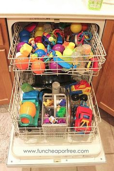 Run toys through the dishwasher regularly to effectively kill germs, especially bath toys. Then run a cycle of vinegar to clean the dishwasher.