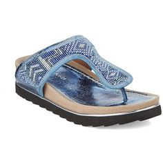 Donald J. Pliner Cali Beaded Sandals ($91) ❤ liked on Polyvore featuring shoes, sandals, blue, tribal print sandals, beaded sandals, donald j pliner shoes, beaded shoes and tribal print shoes