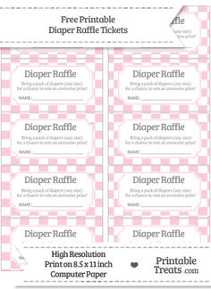Free Pink Checker Pattern Diaper Raffle Tickets