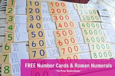 Free Number Cards and Roman Numerals from The Pinay Homeschooler