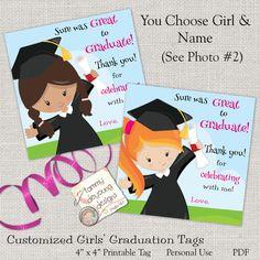 Girls graduation invitation preschool graduation announcement girls graduation tags kids graduation sticker digital graduation thank you card custom graduation 4 inch treat bag labelkinder preschool by filmwisefo
