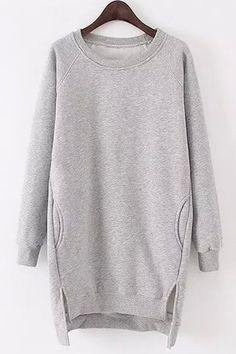 Solid Color Long Sleeves Side Slit Long Sweatshirt 5576944d9f9