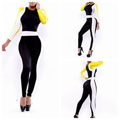 NEW WOMEN SUMMER SEXY FASHION PATCHWORK BODYCON CELEBRITY BANDAGE JUMPSUIT PLAYSUIT BODYSUIT OUTFIT IRREGULAR LONG SLEEVES ROMPERS