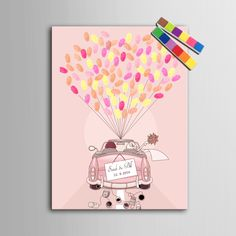Fingerprint Tree Signature Canvas Painting Wedding Car Wedding Gift wedding decoration Party Gift (Include  6Ink Colors)