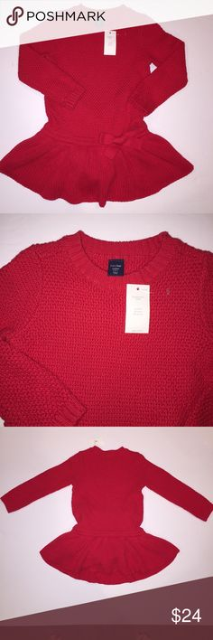 New baby gap sweater dress size 2 This adorable baby gap sweater dress size 2 would be adorable for a holiday photo or any other special occasion. Red dress with twirl factor and a pretty bow. new with tags also have the same dress in a size 5 new with tags GAP Dresses