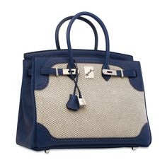 e9b9bef62e9d A LIMITED EDITION BLEU SAPHIR SWIFT LEATHER   TOILE GHILLIES BIRKIN 35 WITH  PALLADIUM HARDWARE