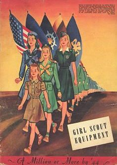 The official Girl Scout uniform of the 1940s consisted ofa brown dress for Brownies, a medium green dress for Intermediates, and a darker green for Seniors. Mariner Scouts (Girl Scouts who specialized in boating and water skills) had a special blue uniform. Wartime restrictions on the use of metals led to replacing the zippers in the uniforms with buttons.