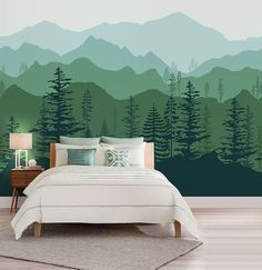 Peel and stick Ombre Mountain pine trees forest scenery nature wallpaper wall decal sticker for interior - Tapeten ideen Wallpaper Wall, Nature Wallpaper, Forest Wallpaper, Landscape Wallpaper, Tree Wallpaper Nursery, Mountain Wallpaper, Mountain Mural, Forest Mountain, Mountain Nursery