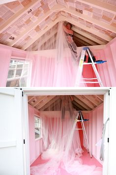 Decorating a She Shed at Kloter Farms Girl Shed Ideas, Shed Hangout Ideas, Playhouse Interior, Shed Interior, Kid Playhouse, Playhouse Decor, Playhouse Ideas, Kids Shed, She Shed Decorating Ideas
