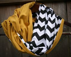 Infinity Scarf // Solid Gold/Black Chevron Jersey Knit // New Orleans Saints/Pittsburgh Penguins/Steelers