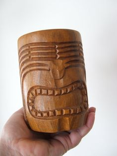 Vintage Tiki Hand Carved Wood Mug by lookonmytreasures on Etsy