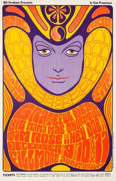 Grateful Dead/Big Mama Mae Thornton/Tim Rose, December 9 & 1966 - Fillmore Auditorium (San Francisco, CA) Art by Wes Wilson Rock Posters, Band Posters, Psychedelic Rock, Psychedelic Posters, Retro Poster, Poster Vintage, Gig Poster, Art Pop, Big Mama Thornton