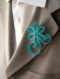 I love this idea, instead of flowers.  Aqua Boutonniere Sea Blue Flower Wedding by MiaettiaCreations, $16.00