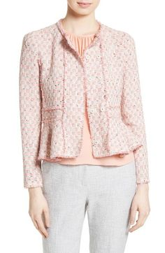 Free shipping and returns on Rebecca Taylor Tweed Peplum Jacket at Nordstrom.com. A peplum hem adds feminine flounce to a fitted jacket tailored from a fresh pastel-check tweed from Italy with raw-fringe edges.