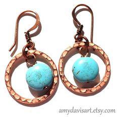 Turquoise Earrings Southwestern Earrings Copper by AmyDavisArt