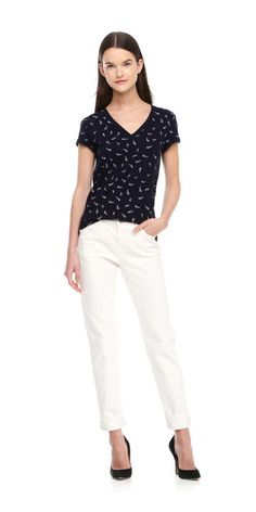 Feather Print Tee in Navy from Joe Fresh $12