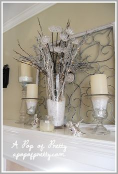 pinterest winter white christmas decor | Mantle Decorations