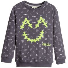 Kenzo - Boys Grey Cotton 'Smiley In The Space' Sweatshirt | Childrensalon