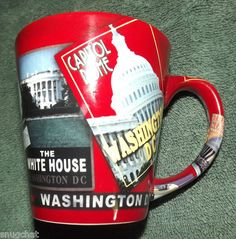 An innovative mug that utilizes all of its surface to promote its theme--the historical landmarks and icons of our nation's capital!