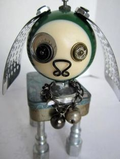 Green Dog Bot  found object robot sculpture assemblage di ckudja by aurora