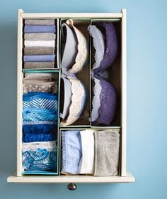 Use Shoe Boxes as DIY Dividers Shoe Boxes as Drawer Dividers Time for your lingerie drawer to step into line. Cut shoe boxes in half, along the length or width, and fill the resulting compartments with folded briefs, socks, or stacked bras.