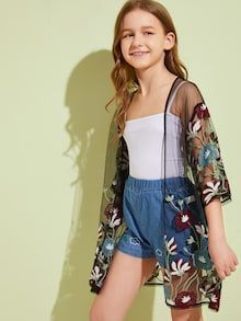 To find out about the Girls Sheer Embroidery Mesh Kimono at SHEIN, part of our latest Girls Kimono ready to shop online today! Preteen Girls Fashion, Girls Fashion Clothes, Teen Fashion Outfits, Girl Fashion, Tween Girls Clothing, Teenage Outfits, Girls Summer Outfits, Cute Girl Outfits, Cute Outfits For Kids