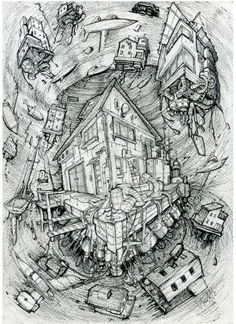 whirlpool.sketches on the theme of the flying city. Летающие дома. Летающий город. Город в облаках. Автор Любимов Алексей/Autor Alexei Lubimov