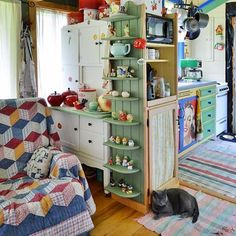 """Their motto perfectly captures the Tiny House Movement: """"Live small to have it all! Live rich with just what you need!"""" kitchen small tiny house Couple Married For 29 Years Builds Their Dream Tiny House All By Hand Tiny House Living, Small Living, Living Spaces, Living Room, Grandma's House, Tiny House Movement, Storybook Cottage, Style At Home, Little Houses"""