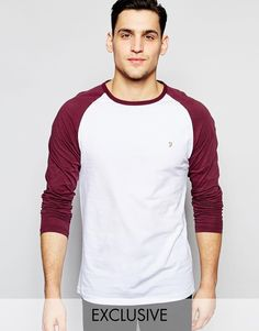 Farah T-Shirt with Contrast Reglan Long Sleeves Slim Fit Exclusive