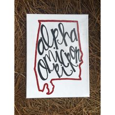 Customizable State and Sorority Calligraphy Lettering Canvas Alpha Omicron Pi Alabama