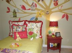 fun girls rooms i painted, bedroom ideas, painting, Another view of the Whimsical Tree