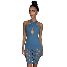 Out Hem neck cross cut Bandage dress