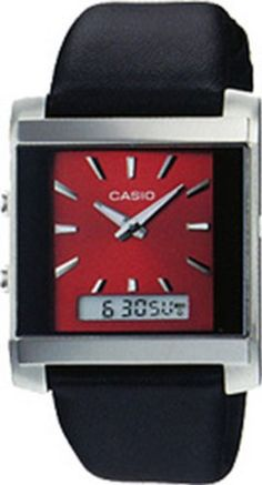 Casio Men& Core Black Leather Quartz Watch with Red Dial * See this great product. Protrek, Fitness Watch, Casio Watch, Quartz Watch, Watches For Men, Black Leather, Stuff To Buy, Accessories, Amazon