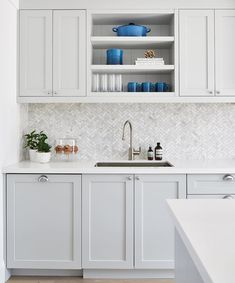 """3,857 Likes, 68 Comments - Kitchens of Instagram (@kitchens_of_insta) on Instagram: """"Love this light gray cabinet with the marble backsplash! Stunning design from @rtgdesigns…"""""""