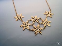 Snowflakes Plated 22k gold necklace Cpercent by plOrkTaiwAn