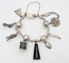 Vintage Taxco Charm Bracelet Sterling Silver Signed Handmade Bead Drum Bird   eBay