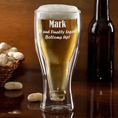 COOL! It's a glass that features a long-neck beer bottle trapped upside down in the inside! You can personalize it with any name or message at PersonalizationMall ... This is a great gift idea for any guy, especially on milestone birthdays... He'd LOVE getting this on his 21st birthday! #Beer #Bottle