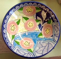Damariscotta Pottery serving bowl painted by Molly