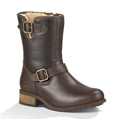 UGG - Women's Chaney Moto Leather Boots - Brown