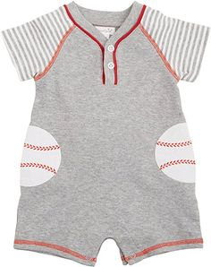 Heathered cotton interlock raglan shortall with contrast sleeves features interlock baseball applique pockets at hips with embroidered detail, piping at button chest placket, cover stitch binding, back snap placket & inner leg snap closure. Baby Boy Outfits, Kids Outfits, Baby Boy Baseball, Mud Pie Baby, Baby Bug, Pajama Shorts, Baby Boy Newborn, Sewing For Kids, Baby Dress