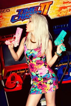 Date night: wearing bright sexy colors and hitting up an arcade.