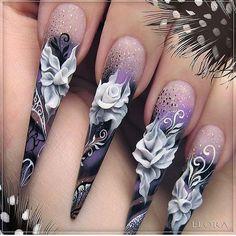 How to Make Nail Art: Nail Designs with Best Tutorial 3d Acrylic Nails, Stiletto Nail Art, 3d Nail Art, Beautiful Nail Designs, Beautiful Nail Art, Gorgeous Nails, Fancy Nails, Bling Nails, Cute Nails