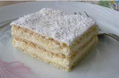Hihetetlenül omlós szalalkális krémes - www.kiskegyed.hu Hungarian Desserts, Hungarian Recipes, No Bake Desserts, Delicious Desserts, Yummy Food, Cake Recipes, Dessert Recipes, Yogurt Cake, Dessert Drinks