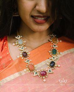 Jewelry OFF! Stunning Diamond Navratna Necklace From Aarni By Shravani ~ South India Jewels Art Deco Jewelry, Fine Jewelry, Jewelry Design, Trendy Jewelry, Beautiful Diamond Rings, Personalized Charms, Vintage Costume Jewelry, Pandora Jewelry, Indian Jewelry